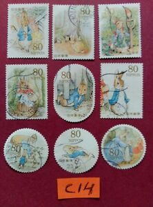 PETER-RABBIT-BEATRIX-POTTER-USED-JAPAN-STAMPS