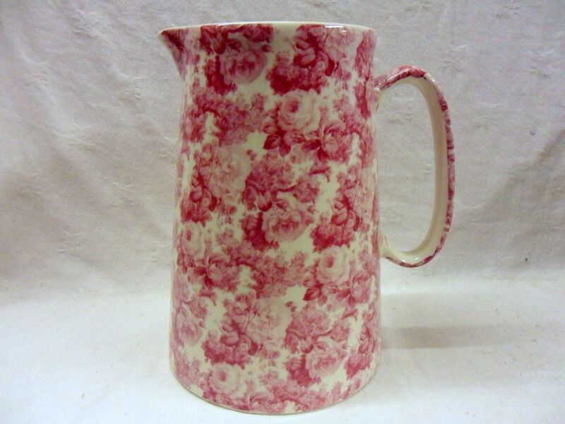Pink Laura design 4 pint pitcher jug by Heron Cross Pottery
