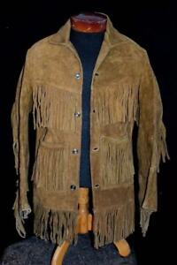 RARE-VINTAGE-1960-039-S-BROWN-HEAVY-SUEDE-FRINGE-WESTERN-JACKET-SIZE-SMALL