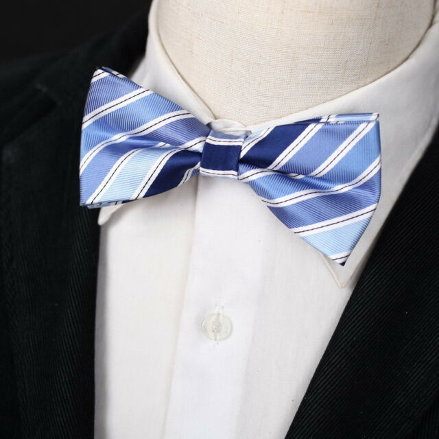 EBDA0155 Cornflower Blue Stripes Microfiber For Dress Pre-tied Bow Tie Epoint