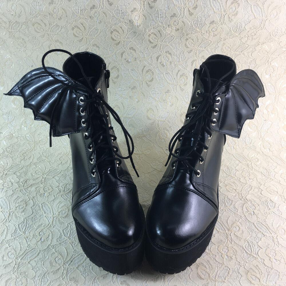 Teufel Gothic Goth Goth Goth Punk Bat Vampir mujer zapatos botas botasetten Kostüm Cool  nuevo sádico