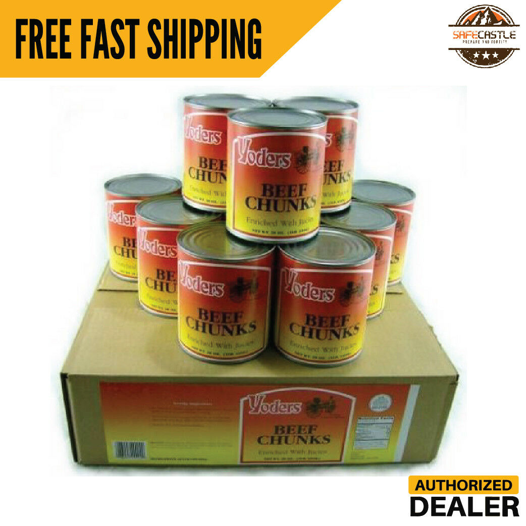 New Yoders Canned Beef Chunks Case of 12 Canned Meat Food Storage Emergency