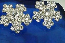 Snowflake Rhinestone Silver Metal Buttons, Bridal Embellishment 19 mm 10 Pieces