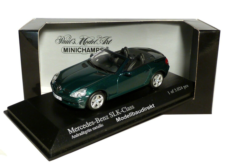 MERCEDES BENZ SLK in verde metallizzato BJ 2004 1:43 Minichamps 400033130 NUOVO & OVP