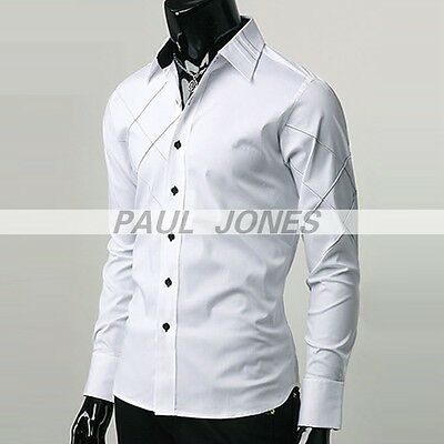 Office Men's Casual Slim Fit Long Sleeve Button Down Formal Dress Shirts