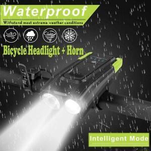 USB-Rechargeable-LED-Bike-Headlight-Bike-Head-Light-Front-Lamp-Cycling-w-Horn