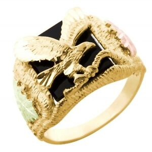 14891a943b6fe Details about Mt Rushmore 10K Black Hills Gold Men's Eagle Ring w Onyx Size  11