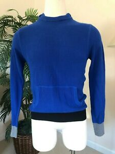 NEW-Yigal-Azrouel-Men-039-s-Royal-Blue-Hooded-Knit-Long-Sleeve-Shirt-Top-Size-M