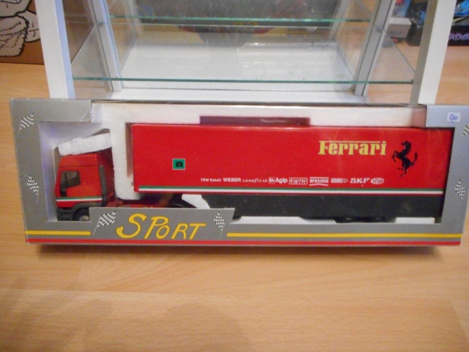 Eligor   lbs - formel - 1 - iveco eurotech + trailer  ferrari  in rot - 1 43 - box