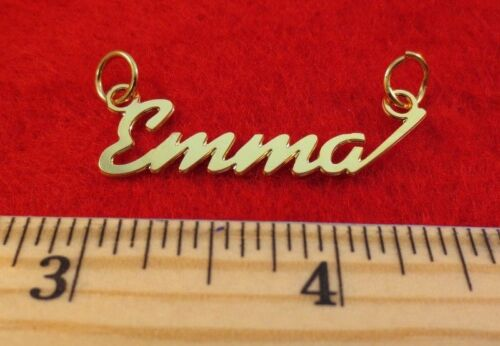 """6126A 14KT GOLD EP /""""EMMA/"""" PERSONALIZED NAMEPLATE WORD CHARM PENDANT"""