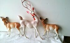 Vintage Christmas Reindeer Celluloid Plastic And Soft Rubber
