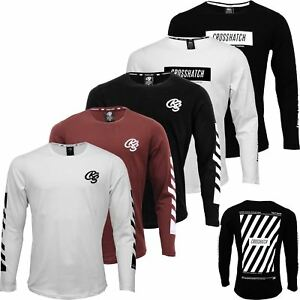 aeb502fccbc4 Image is loading Mens-Crosshatch-Long-Sleeve-Top-Printed-Embroidery-Crew-