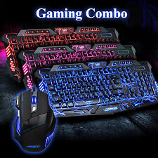 M200 Cracked 3 LED Colors Gaming Keyboard ARES 3200DPI Wired Mouse Bundles Combo
