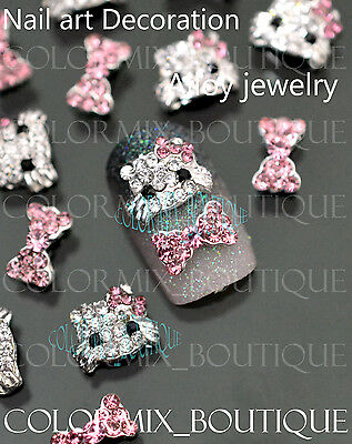 #CA078  3D Bijoux ongles nail art tip décorations Chat strass clair  ruban stras