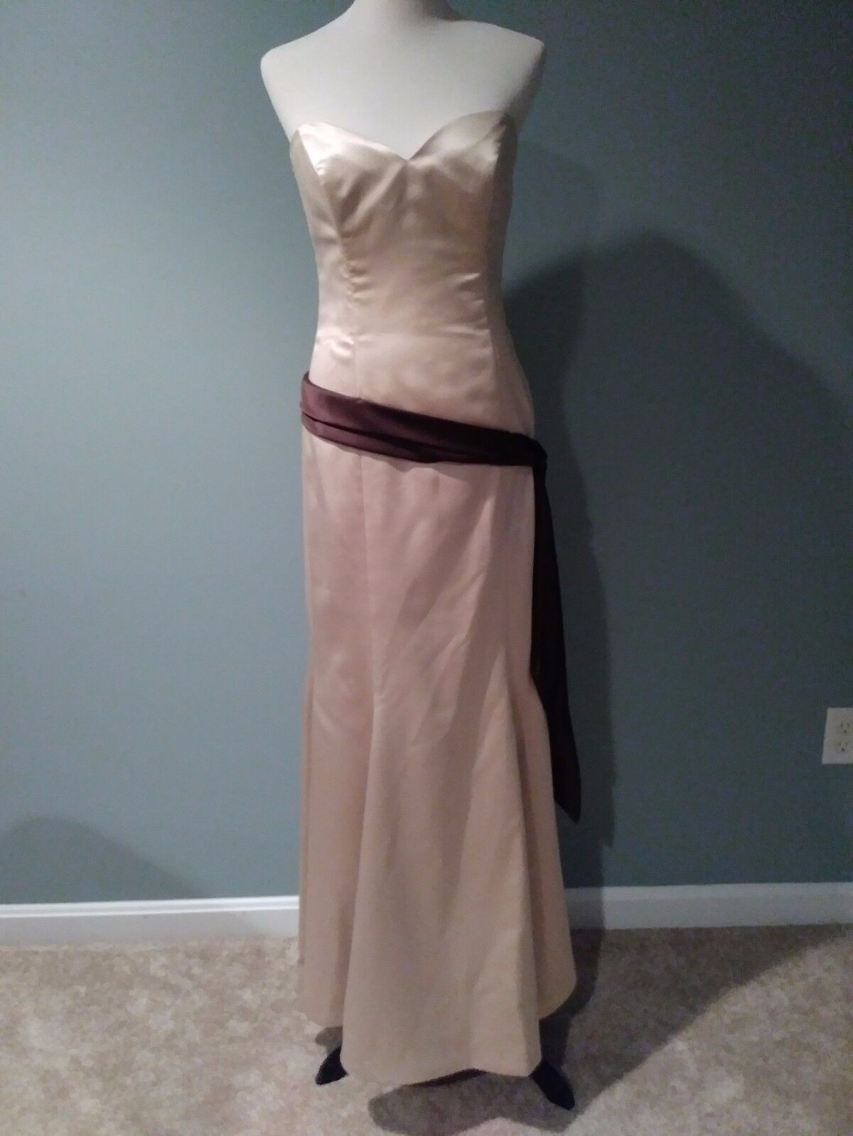 **New With Tags**Lazaro Cashmere Taffeta Gown Brown Bow Size:12 Tag: