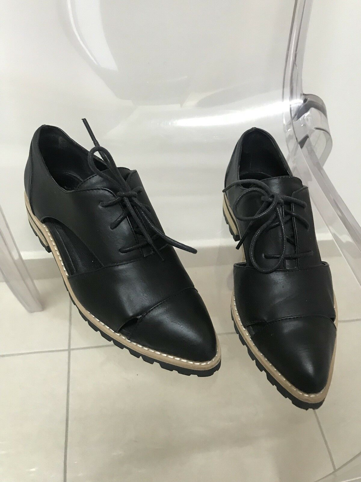 ALDO real Leather Black Onford shoes Womens Size 35
