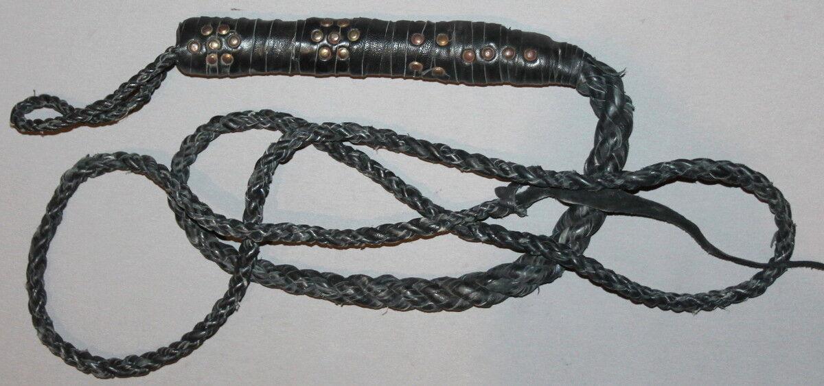 Vintage mano hecha látigo de cuero trenzado