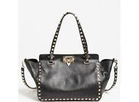 Valentino Mini Rockstud Satchel Bag Noir Black/goldtone Made In Italy $1875+