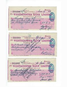 ENGLAND-BANK-CHECKS-WESTMINISTER-BANK-LTD-WITH-REVENUE-STAMP-3-PCS-LOT-F-VF
