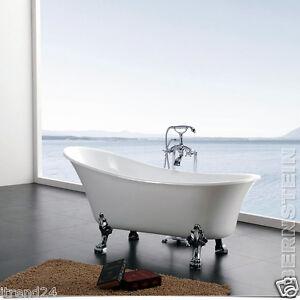 Vasca da bagno freestanding paris bianco nero rubinetteria a scelta scarico ebay - Vasca da bagno piedini ...