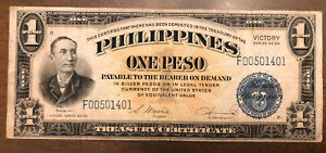 1922 Philippines One Peso Victory Note Series 66