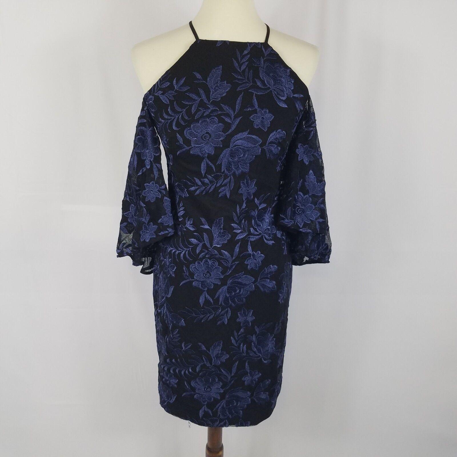 New Ralph Lauren cold shoulder dress Größe 4 schwarz Blau bell sleeves embroiderot