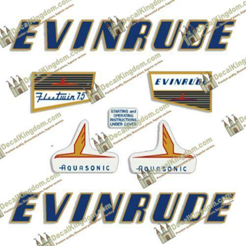 Evinrude 1955 7.5hp Outboard Decal Kit 3M Marine Grade