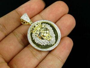 10K-Yellow-Gold-Over-2-00-CT-Diamond-Lion-Head-Medallion-Pendant-Pave-Charm