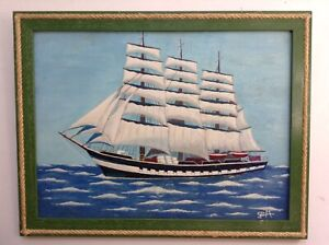 Tableau Art Naïf  Marine Bateau Portrait Trois Mâts Huile signée