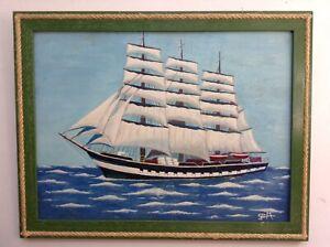 Tableau-Art-Naif-Marine-Bateau-Portrait-Trois-Mats-Huile-signee