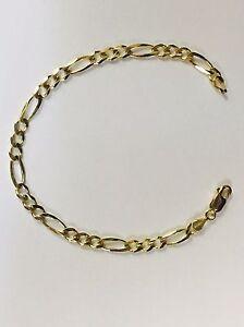 14k Solid Gold Mens Figaro Curb Link chain/Bracelet 7
