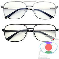 Multifocal Metal Frame Aviator No Line Progressive Reading Glasses Clear Lens