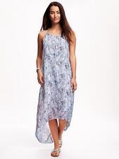 Old Navy Women's Blue Coral Top Chiffon Hi-Lo Trapeze Maxi Dress Size M Petite