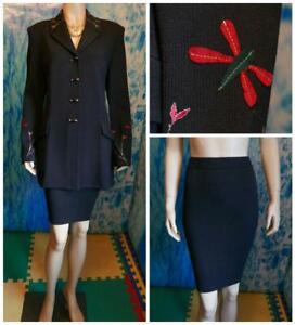 St. John Evening Knits Black Jacket Skirt L 12 10 2pc Suit Red Green Appliques