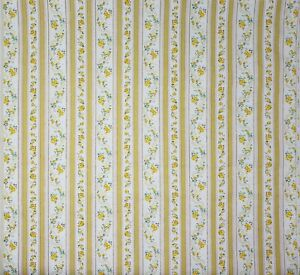 Vintage-Pillow-Ticking-Fabric-Yellow-Striped-Floral-Cotton-20-034-L-X-42-034-W-NOS