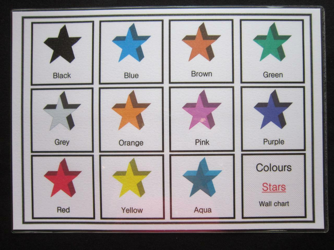 Colours Stars Cards - Education Visual Aids Autism Early Yrs SEN Memory Loss