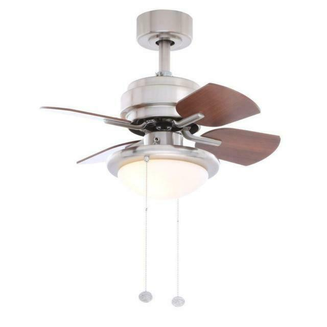 Hampton Bay 24 In Indoor Brushed Nickel Ceiling Fan With Light Kit Small Room For Sale Online Ebay
