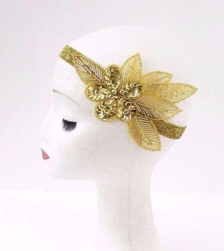 Gold Sequin Beaded Headband Headpiece Vintage 1920s Great Gatsby Flapper 3062