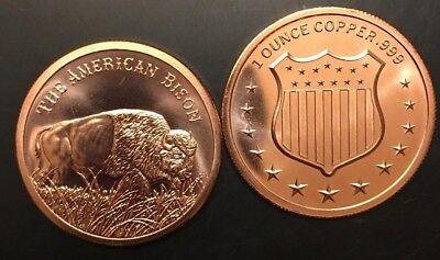Bison 1 oz .999  Buffalo Copper Bullion Rounds Coins