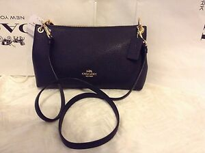 3c8865c53ae7 NWT Coach Pebbled Leather Charley Cross-body   Shoulder Bag Midnight ...