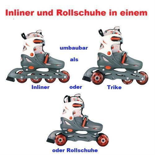 KINDER INLINER UND ROLLSCHUHE IN EINEM  27 28 29 30 Grau/Rot/Weiß (GRW)