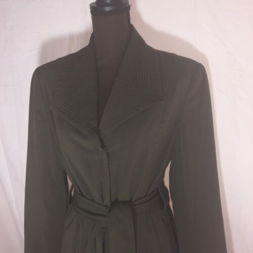 Size 10 Women's Larry Levine Olive Green Trench C… - image 1