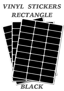 50 Black Rectangles Self Adhesive Waterproof Vinyl Labels size 25mm x 12mm