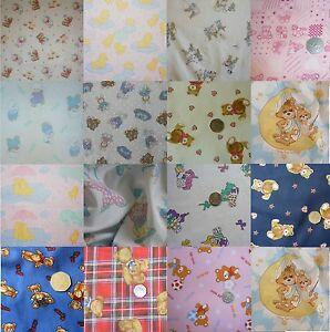 NURSERY-baby-cot-BEDDING-bumper-FABRIC-various-Teddy-Clown-bunny-Children-PRINTS