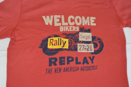 Sizes 6,8,10,12 /& 14 RED Replay Boys Long Sleeve Printed T Shirt NEW