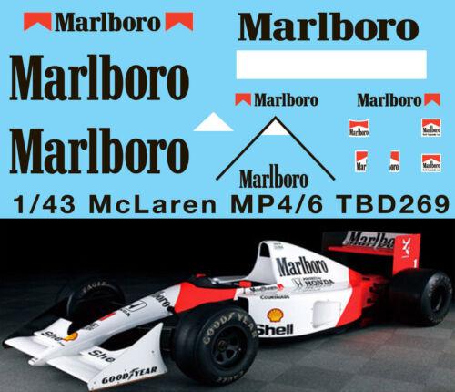 1//43 McLaren Honda MP4//6 Ayrton Senna G.Berger 1991 Decals TB Decal TBD269