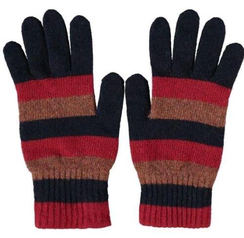 L £80 OLIVER SPENCER Red Striped Wool Blend Gloves M