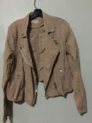 M Lou Jacket Moderne Grey Blazer Femmes Moto Zip Flap 100 Up Taille Lin PPrUq
