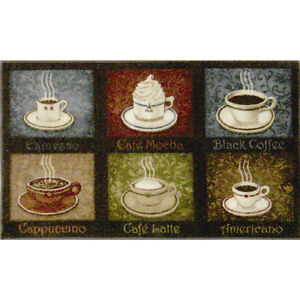 Image Is Loading Coffee Themed Rug Soft Kitchen Mat Latte Espresso