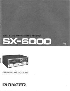 pioneer sx 6000 receiver owners manual ebay rh ebay com Pioneer AV Receiver pioneer receiver vsx-818v owners manual